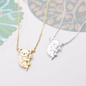 Koala Necklace, Tiny Animal Necklac..