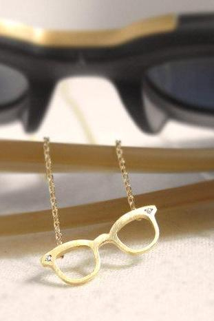 Tiny Eyeglass Necklace, in Gold and Silver
