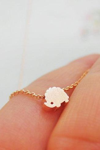 Rose gold Hedgehog Necklace, Animal Necklace, Delicate Necklace, Dainty Necklace, Charming necklace, Tiny Long Layered Necklace