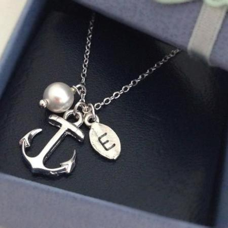 Anchor necklace, initial necklace, best friend necklace, friendship gift,initial leaf and anchor, Swarovski Pearl,personalized necklace